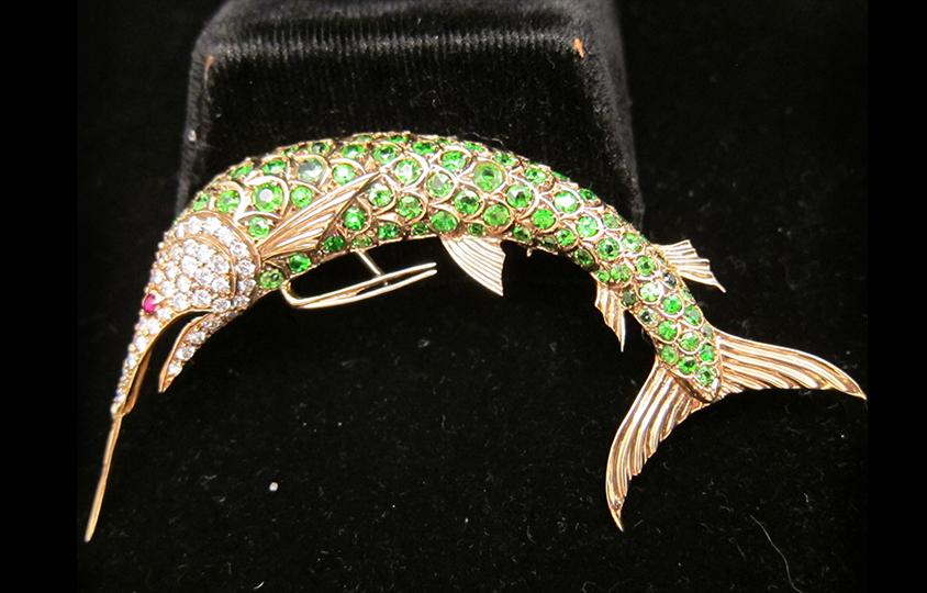 diamond Fish brooch Chicago