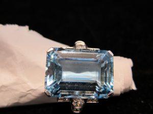 Aquamarine (28cts.) & Diamond, set in platinum, circa 1935