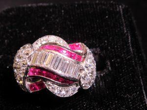 Diamond & Calibre Ruby, set in platinum, circa 1930