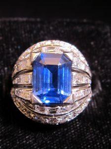 Sapphire (8.5 cts) & Diamond (3cts), set in platinum, French hallmarked, circam1950