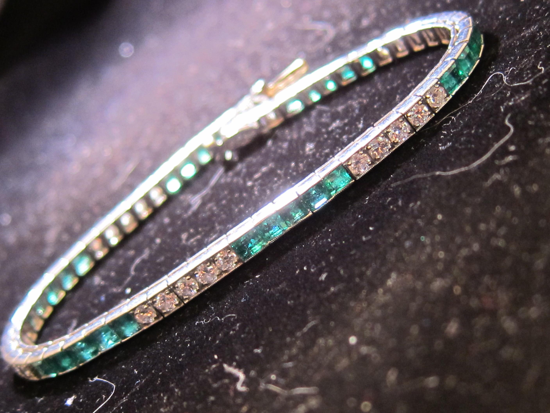 American Platinum, Emerald & Diamond Bracelet by Tiffany