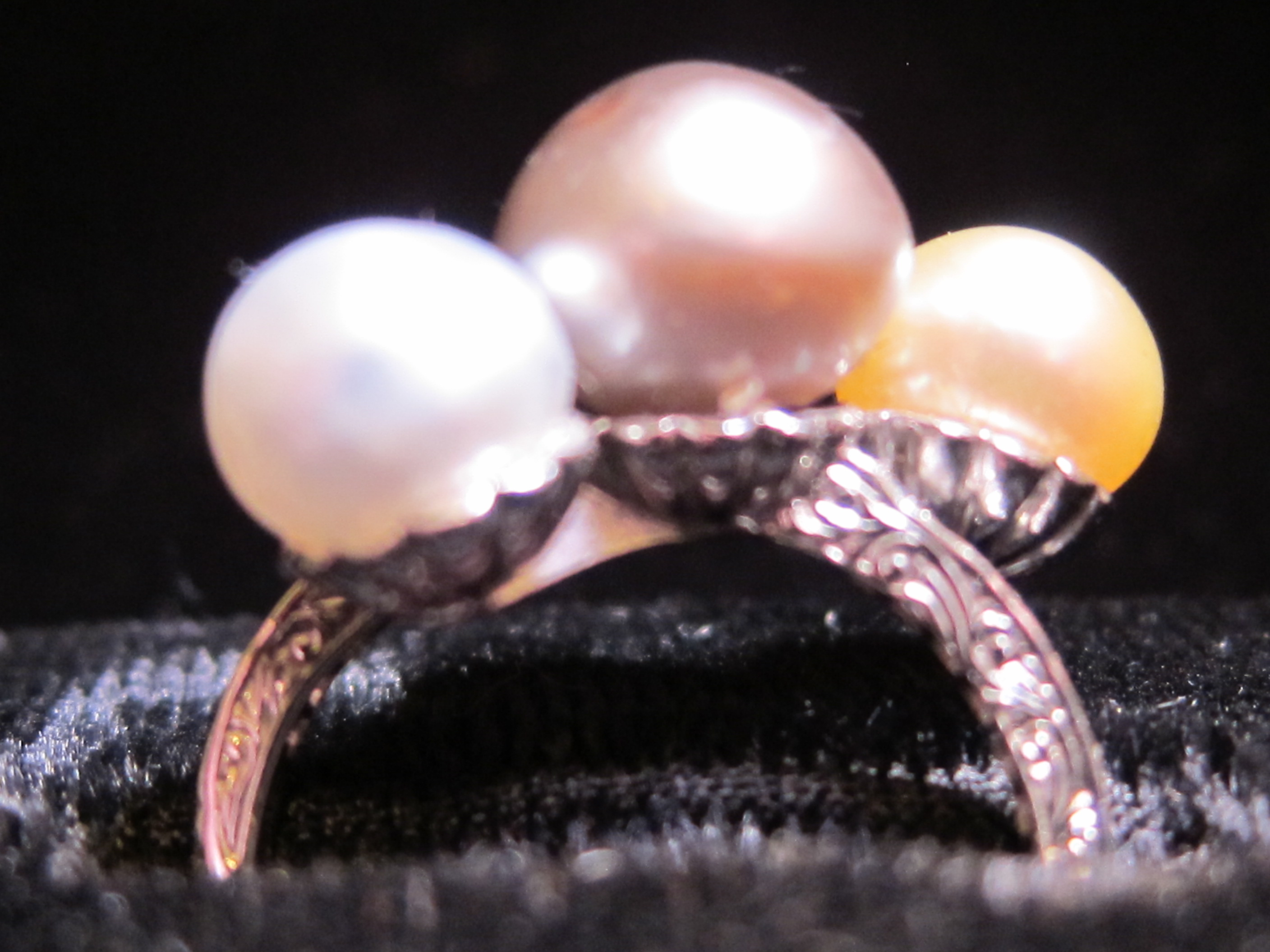 American Platinum & Natural Colored Pearl Ring by Peacock Art Deco