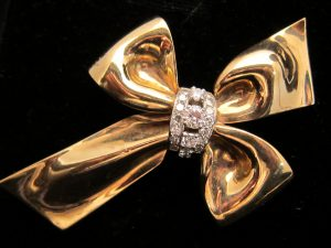 1. Retro Gold & Diamond pin by Cartier circa.1940
