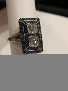 Platinum, Sapphire & Diamond rectangular geometric ring. Art Deco 1930