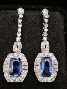 Art Deco, Platinum, Sapphire and Diamond drop earrings. circa 1925