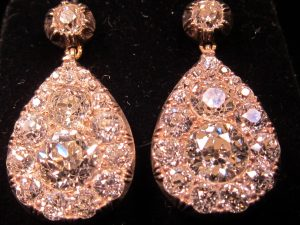 Pear Shape, Double diamond cluster earrings. circa 1890