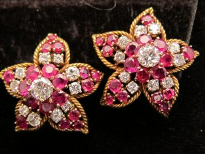 Retro, Gold, Ruby and Diamond ear clips. circa 1945