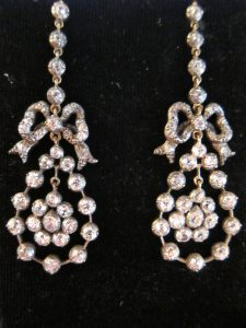 Victorian Diamond, silver on gold earrings. circa 1880