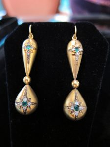 Victorian gem set drop earrings. circa 1880