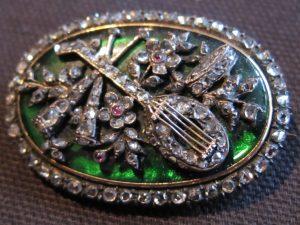 Georgian green enamel and diamond brooch (very rare)
