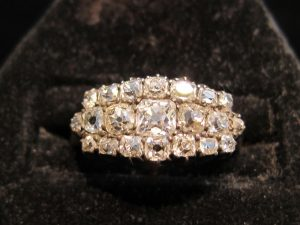 Old Mine Cut Diamond Band Ring Set in silver on gold, circa 1865