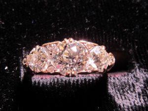 Old Mine Cut Diamond Half Hoop Ring, circa 1880