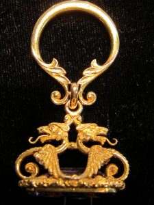Gentleman's ornate double Griffin and Amethyst fobseal circa 1880