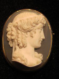 Hardstone cameo classic ladies profile in 'Roman' frame circa 1860