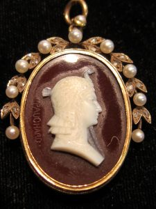 Hardstone cameo of Cleopatra in a diamond & Pearl frame signed Pauchard circa 1890