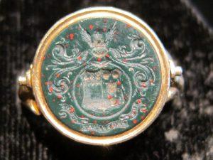 Intaglio family crest ring in blood stone circa 1880