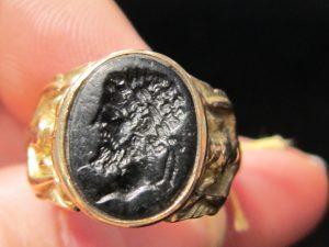 Onyx Intaglio ring of Greek philosopher, probably Aristotle circa 1870