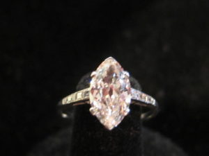Art Deco, Platinum and Marquise diamond. 1.78 cts. F color. Vs clarity. Circa 1935