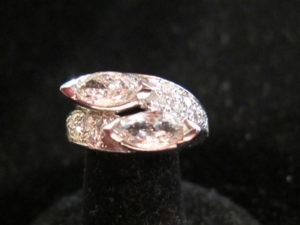 Art Deco, Platinum and Marquise diamonds crossover ring. Circa 1925