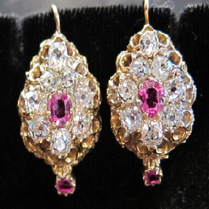 Victorian Ruby & Diamond Earrings