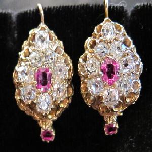 Victorian Ruby & Diamond Earrings