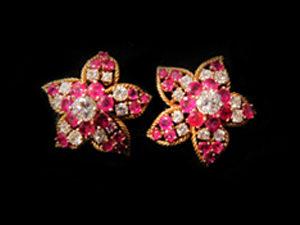 Diamond flower clip earrings