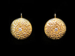 Gold Engraved Disc earrings with Diamond center