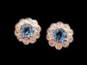 Platinum, Aqua Marine & Diamond Cluster earrings