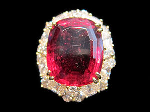 Rubelite & Diamond Cluster Ring