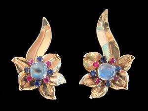 Sapphire & Ruby Ear clips