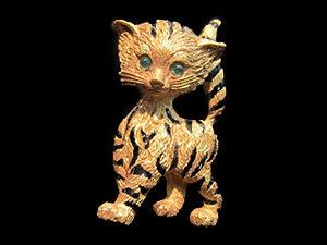Striped Enamel Cat