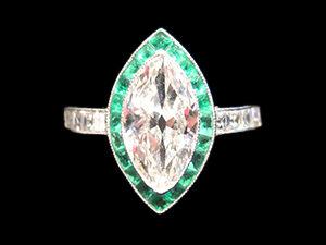 Marquise Cut Diamond ring with Calibre Emeralds, Circa 1920
