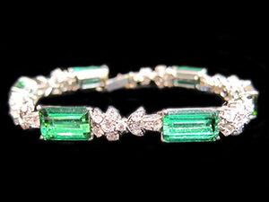 Tourmaline & Diamond Bracelet, Art deco