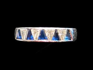 Triangle cut Sapphire & Diamond ring, Circa 1925