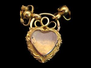 18kt Gold, Ruby, Sapphire & Diamond lavaliere design, heart pendant. Circa 1890