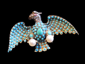 18kt Gold, Turquoise, Natural Pearl, Ruby & Diamond, Eagle brooch, Circa 1845