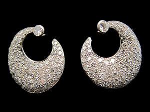 2 Art Deco, Platinum & Diamond pave set hoop earrings. Circa 1925